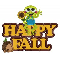 Happy Fall Little Frog Applique Machine Embroidery Design Digitized Pattern
