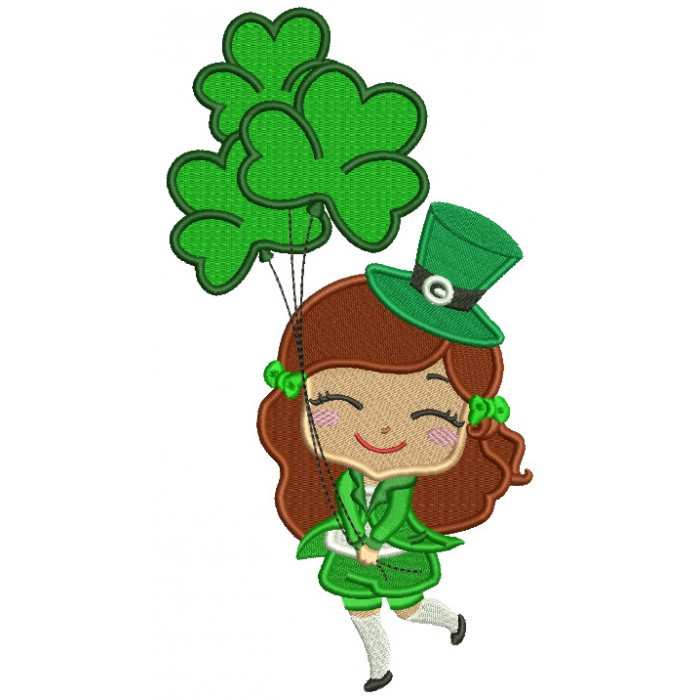 Happy Girl With Shamrock Balloons St. Patrick's Day Filled Machine Embroidery Design Digitized Pattern