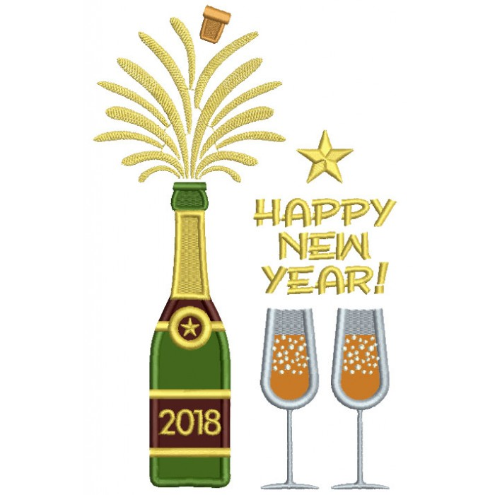 Happy New Year Bottle Of Champagne Applique Machine Embroidery Design Digitized Pattern