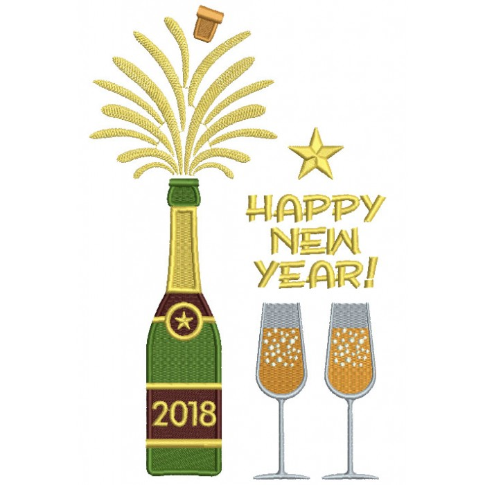 Happy New Year Bottle Of Champagne Filled Machine Embroidery Design Digitized Pattern