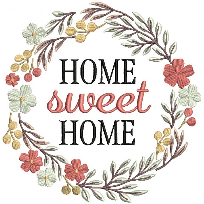 Home Sweet Home Flower Frame Filled Machine Embroidery Design Digitized Pattern