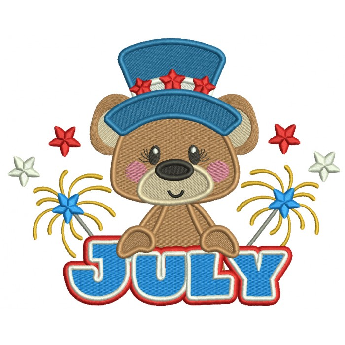 July Bear Independence Day Patriotic Filled Machine Embroidery Design Digitized Pattern