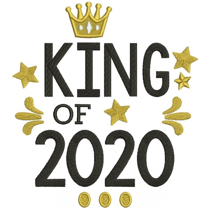 King Of 2020 New Year Filled Machine Embroidery Design Digitized Pattern