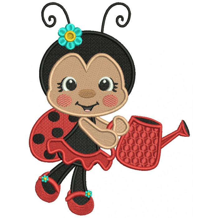 Ladybug Gardner With Flowers On Her Shoes Filled Machine Embroidery Design Digitized Pattern