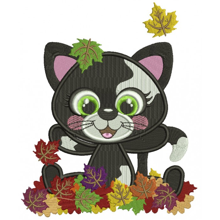 Little Black Kitten Playing With Leaves Fall Filled Thanksgiving Machine Embroidery Design Digitized Pattern