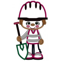 Little Cute Construction Boy Holding a Shovel Applique Machine Embroidery Design Digitized Pattern