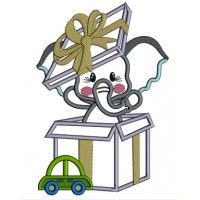 Little Elephant Inside a Gift Box Applique Machine Embroidery Design Digitized Pattern