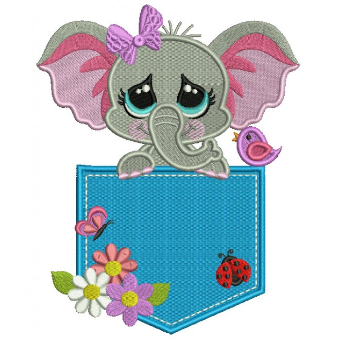 Little Elephant Sitting Inside a Pocket With Ladybug and Flowers Filled Machine Embroidery Design Digitized Pattern