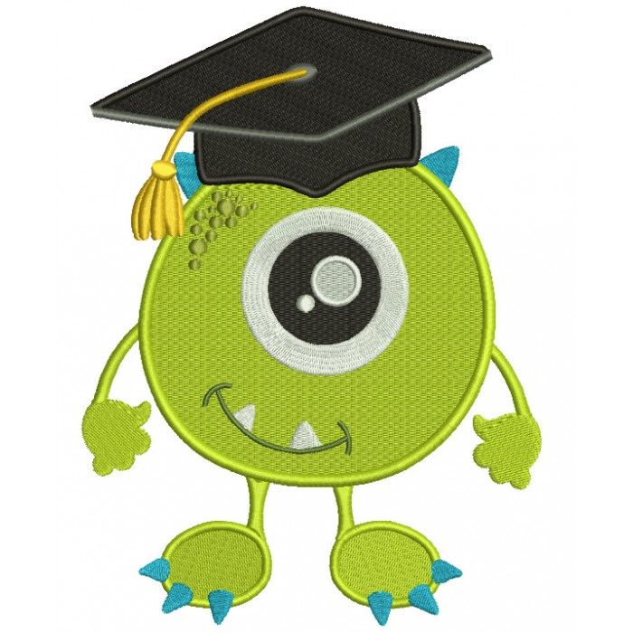 Little Monster Wearing Graduation Cap Looks Like Mike Wazowski From Monster's Inc Filled Machine Embroidery Design Digitized Pattern