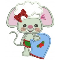 Little Mouse Holding a Mitten Applique Machine Embroidery Design Digitized Pattern