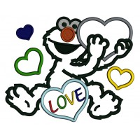 Looks Like Elmo With Big Heart Autism Awareness Love Applique Machine Embroidery Design Digitized Pattern