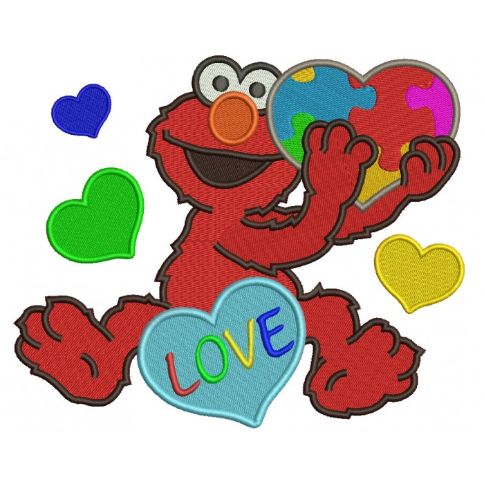 Looks Like Elmo With Big Heart Autism Awareness Love Filled Machine Embroidery Design Digitized Pattern