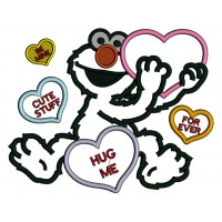 Looks Like Elmo With Big Heart Hug Me Forever Love Applique Machine Embroidery Design Digitized Pattern