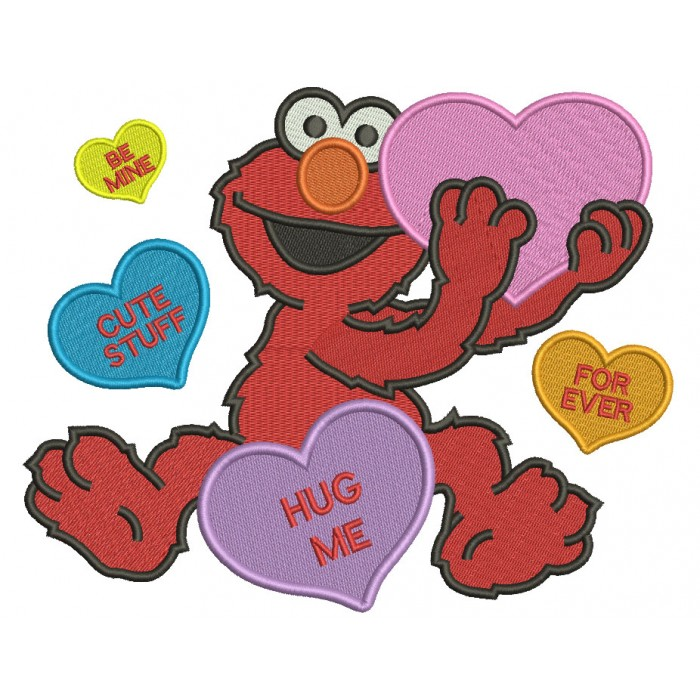 Looks Like Elmo With Big Heart Hug Me Forever Love Filled Machine Embroidery Design Digitized Pattern