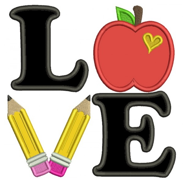 Love Apple And Pencils School Applique Machine Embroidery Design Digitized Pattern