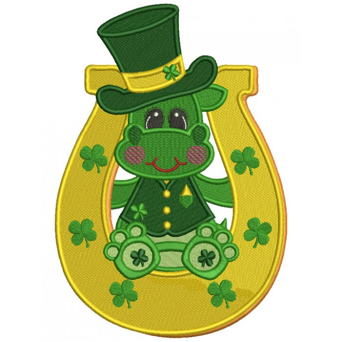 Lucky Dino Inside a Horseshoe Filled St. Patrick's Day Machine Embroidery Design Digitized Pattern