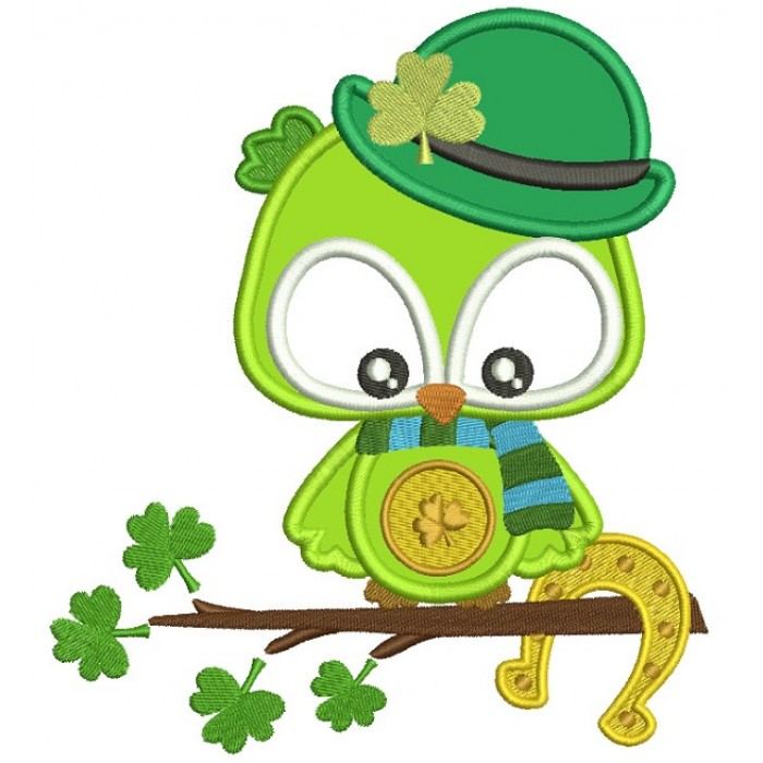 Lucky Owl Holding Horseshoe St. Patrick's Day Applique Machine Embroidery Design Digitized Pattern