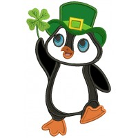 Lucky Penguin Holding a Shamrock St. Patrick's Applique Machine Embroidery Design Digitized Pattern