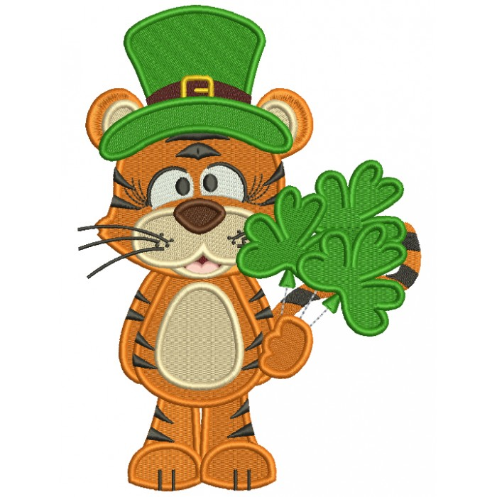 Lucky Tiger Holding Shamrock Bouquet St. Patrick's Filled Machine Embroidery Design Digitized Pattern