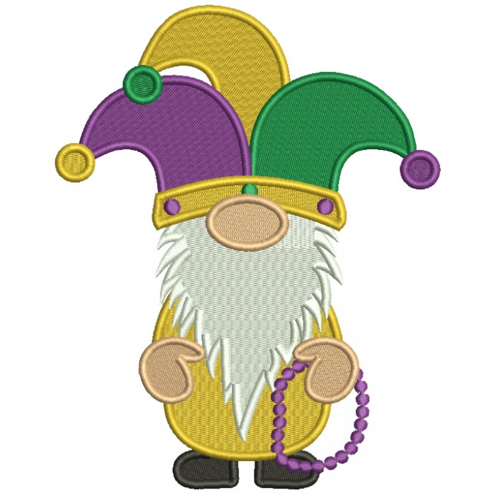 Mardi Gras Gnome Wearing Jester Crown Filled Machine Embroidery Design Digitized Pattern