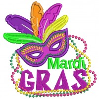 Mardi Gras Mask With Feathers and Beads Applique Machine Embroidery Design Digitized Pattern