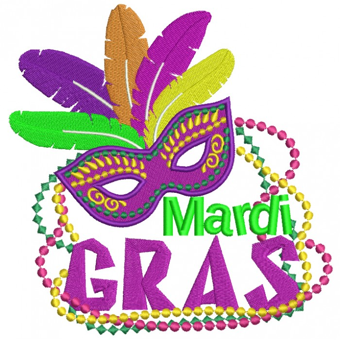 Mardi Gras Mask With Feathers and Beads Filled Machine Embroidery Design Digitized Pattern