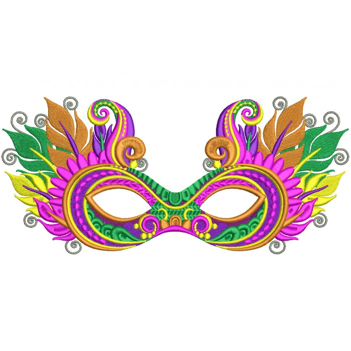 mardi gras mask with fancy feathers and ornaments filled machine