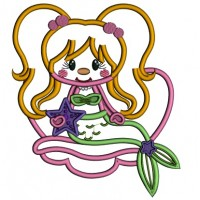 Mermaid Holding a Star Applique Machine Embroidery Design Digitized Pattern