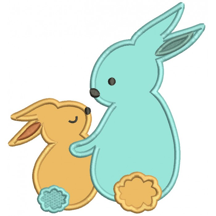 Mommy And Baby Bunnies Mother's Day Applique Machine Embroidery Design Digitized Pattern