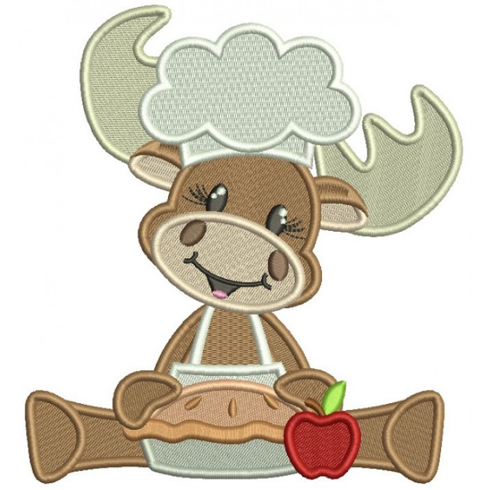 Moose Cook Holding Apple Pie Thanksgiving Filled Machine Embroidery Design Digitized Pattern