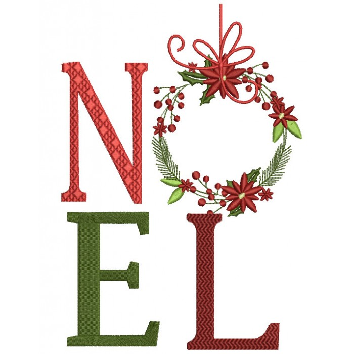 NOEL Ornament Christmas Filled Machine Embroidery Design Digitized Pattern