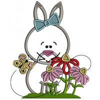 Old Fasion Bunny With Flowers Easter Applique Machine Embroidery Design Digitized