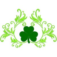 Ornamental Shamrock St. Patrick's Day Applique Machine Embroidery Design Digitized Pattern