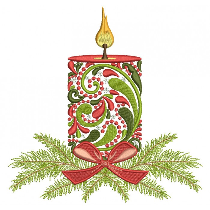 Ornate Christmas Candle Filled Machine Embroidery Design Digitized Pattern