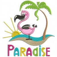 Paradise Flamingo And a Palm Tree Applique Machine Embroidery Design Digitized Pattern