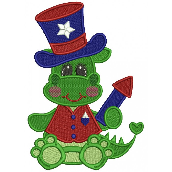 Patriotic Dino Wearing a Hat Filled Machine Embroidery Design Digitized Pattern
