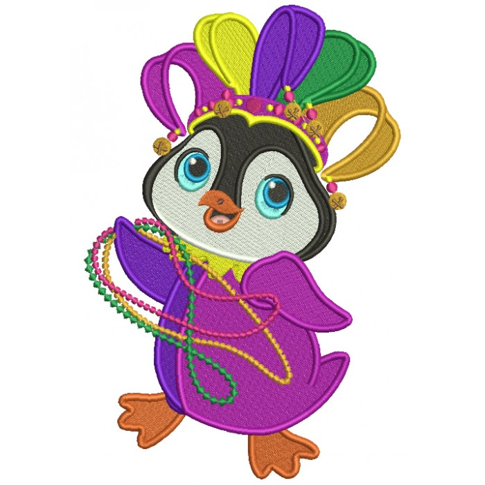Penguin Holding Mardi Gras Beads Filled Machine Embroidery Design Digitized Pattern