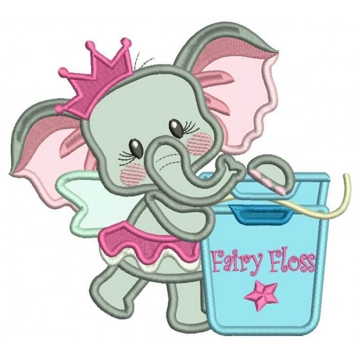 Princess Elephant With Fairy Floss Applique Machine Embroidery Design Digitized Pattern