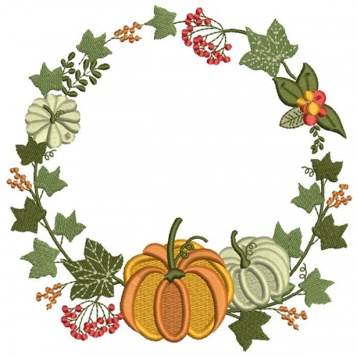 Pumpkin And Fall Leaves Wreath Thanksgiving Filled Machine Embroidery Design Digitized Pattern