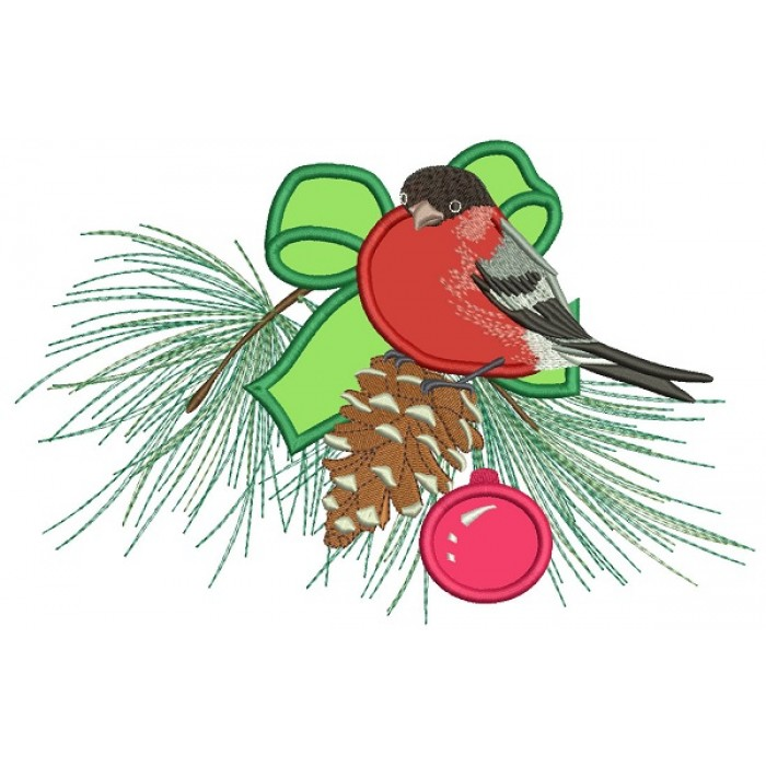 Red Robin Sitting On The Christmas Tree Branch Applique Machine Embroidery Design Digitized Pattern