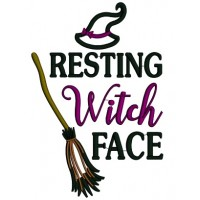 Resting Witch Face Broom Applique Halloween Machine Embroidery Design Digitized Pattern