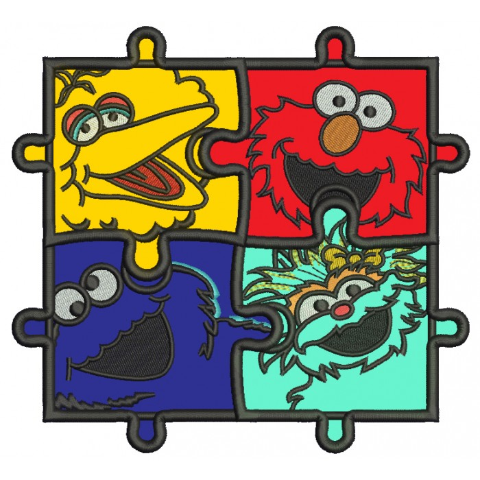 Sesame Street Autism Awareness Puzzle Applique Machine Embroidery Design Digitized Pattern