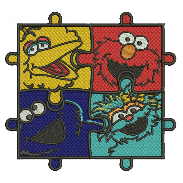 Sesame Street Autism Awareness Puzzle Filled Machine Embroidery Design Digitized Pattern