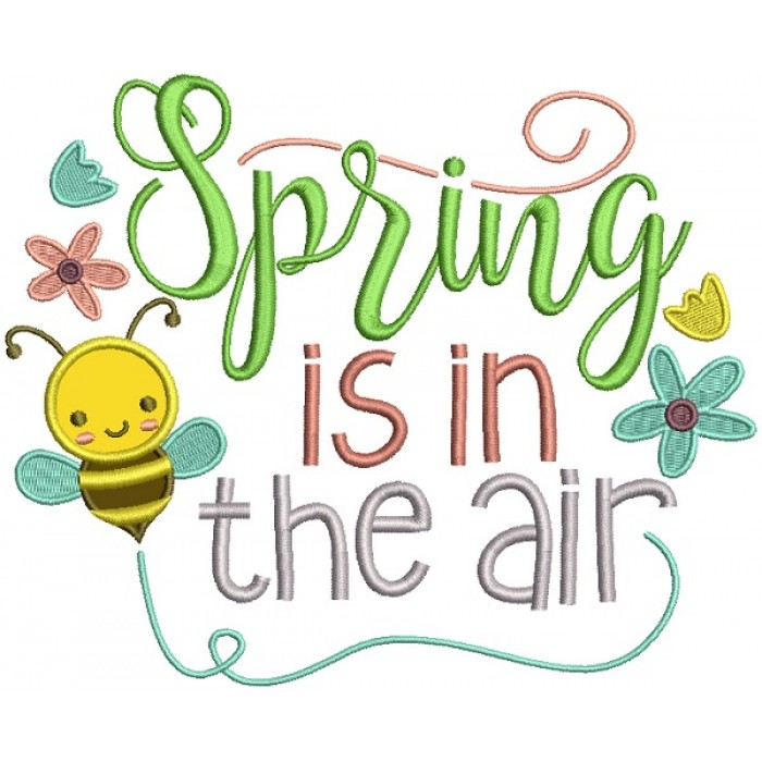 spring is in the air cute bee applique machine embroidery