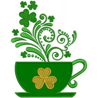 St. Patrick's Cup With Shamrock Applique Machine Embroidery Design Digitized Pattern