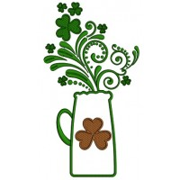 St. Patrick's Vase With Shamrock Applique Machine Embroidery Design Digitized Pattern