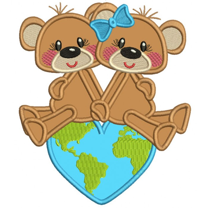 Two Cute Bears Sitting On Top Of The World Applique Machine Embroidery Design Digitized Pattern