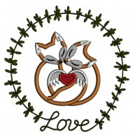 Two Foxes In Love Ornamental Frame Applique Machine Embroidery Design Digitized Pattern
