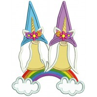 Two Gnomes Sitting On The Rainbow Applique Machine Embroidery Design Digitized Pattern