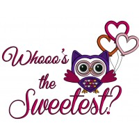 Whoo's The Sweetest Owl With Balloons Applique Machine Embroidery Design Digitized Pattern